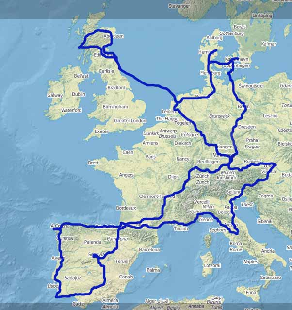 Pilgrimage through Europe